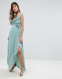 Read more about Little mistress one shoulder maxi dress with embellished waist - sage green