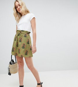 Read more about Asos design tall cotton mini skater skirt with pockets in green floral print - multi