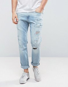 Read more about Hollister cropped skinny jeans destroyed in light wash - light wash blue