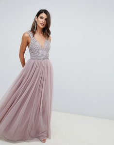 Read more about Asos design maxi dress in tulle with embellished bodice - mink