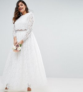 Read more about Asos edition curve bridal lace long sleeve crop top maxi dress - white