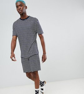 Read more about Asos design pyjama set with shorts in stripe - navy