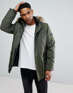 Read more about Jack jones parka with faux fur hood - green