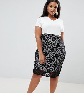 Read more about Praslin midi pencil dress with lace skirt - white black lace