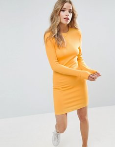 Read more about Asos mini bodycon dress in rib with long sleeves - apricot