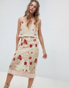 Read more about Rd koko overlay cami dress with floral embroidery - multi