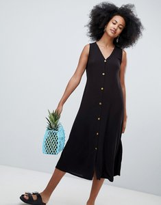 Read more about Monki button front midi dress - black