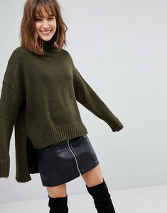 Read more about Stradivarius high neck high low jumper - khaki