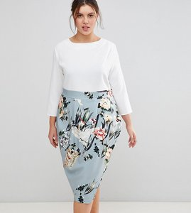 Read more about Closet london plus 2 in 1 contrast floral pencil dress - multi