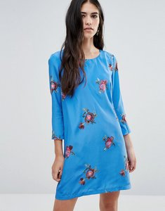 Read more about Traffic people shift dress with floral embroidery - light blue