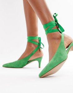 Read more about Asos white foxglove suede kitten heels - green