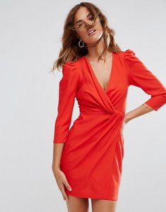 Read more about Asos wrap front mini dress - red