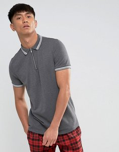 Read more about Asos zip neck tipping collar and cuff pique polo shirt - char marl wht