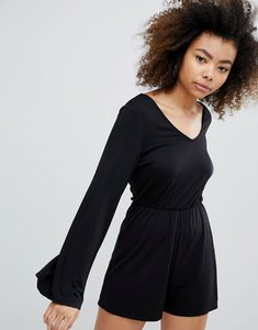 Read more about Monki long sleeve playsuit - black