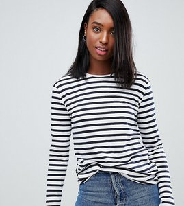 Read more about Asos design tall relaxed long sleeve top in stripe - white navy