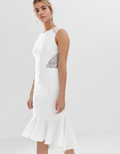 Read more about Chi chi london lace insert midi dress with dip hem in white