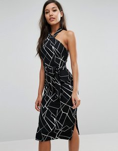Read more about Lavish alice halterneck midi dress - black white