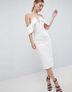 Read more about Lavish alice plunge front bandeau midi dress - white