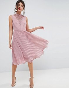 Read more about Asos sleeveless lace insert pleated midi dress - mink