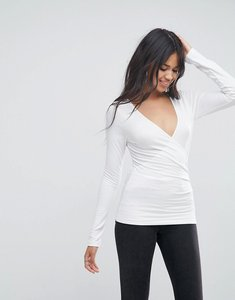 Read more about Asos long sleeved wrap front top - white