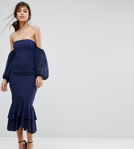 Read more about Jarlo midi off shoulder midi dress with frill detail - navy