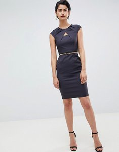 Read more about Paper dolls charcoal keyhole pleat dress - charcoal