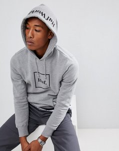 Read more about Huf box logo hoodie with hood print in grey - grey