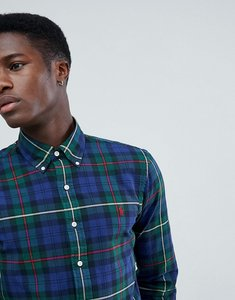 Read more about Polo ralph lauren slim fit tartan check oxford shirt player logo button down in navy green - navy pi