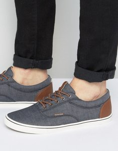 Read more about Jack jones vision chambray plimsolls - black