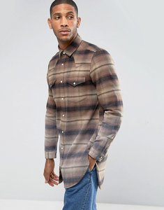 Read more about Asos regular fit super longline western check shirt with dip dye - brown
