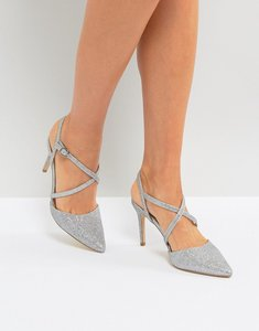 Read more about New look cross front pointed heeled shoes - silver