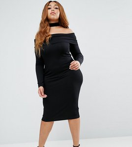 Read more about Asos curve long sleeve midi bardot bodycon dress - black