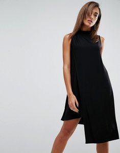 Read more about Asos slinky high neck shift dress with asymmetric hem - black