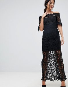 Read more about Paper dolls off shoulder crochet maxi dress with frill sleeve - black