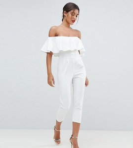 Read more about Outrageous fortune bardot tailored jumpsuit with tapered leg - white