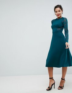 Read more about Asos premium midi scuba skater dress with lace sleeves - forest green