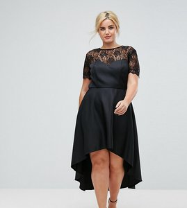 Read more about Chi chi london plus high low midi skater dress with lace neckline - black