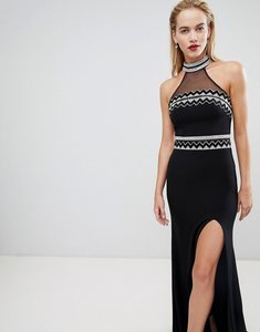 Read more about Forever unique embellished halter neck maxi dress - black