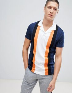 Read more about Asos design polo shirt with retro vertical panels and revere collar - navy
