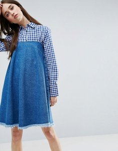 Read more about Asos denim strapless dress with raw hem in mid wash blue - blue