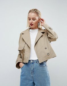Read more about Asos white cropped military mac - stone