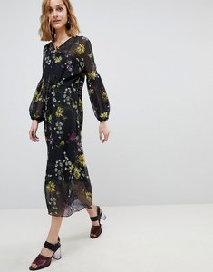 Read more about Warehouse dutch floral print balloon sleeve chiffon midi dress - black pattern