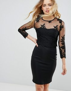 Read more about Zibi london mesh sleeve fitted dress with lace detail - black
