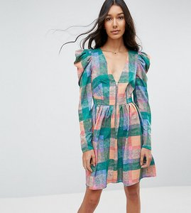 Read more about Asos tall puff sleeve mini dress in check print - check