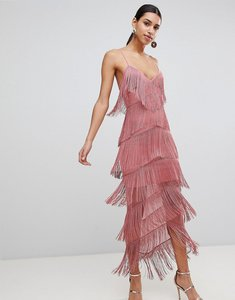 Read more about Asos fringe mesh strappy maxi bodycon dress - blush