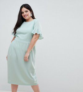 Read more about Asos design curve midi wiggle dress with fluted sleeve - sage