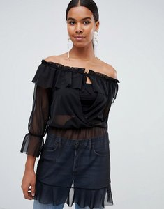 Read more about Missguided mesh waist tie bardot dress - black
