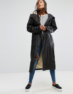 Read more about Asos maxi raincoat with borg lining - black