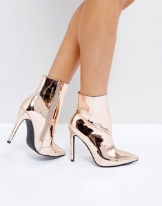 Read more about Public desire harlee high shine rose gold heeled ankle boots - rose gold