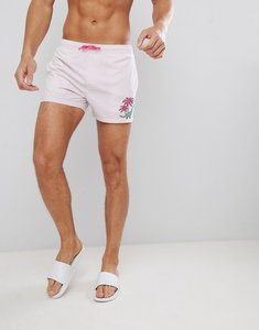 Read more about Asos design swim shorts in purple with dinosaur embroidery in mid length - pink